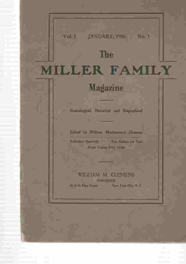 Image for The Miller Family Magazine, January 1916, Vol 1, No. 1