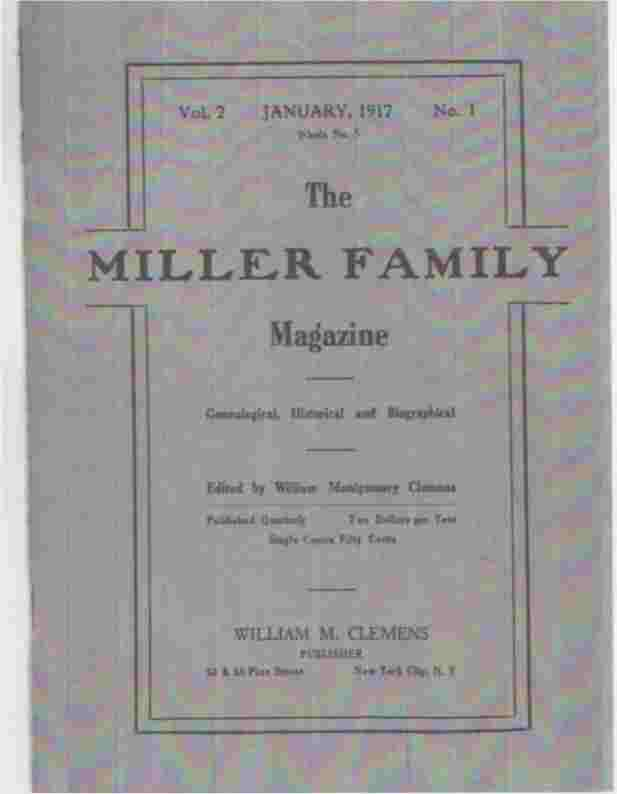 Image for The Miller Family Magazine, January 1917, Vol 2, No. 1