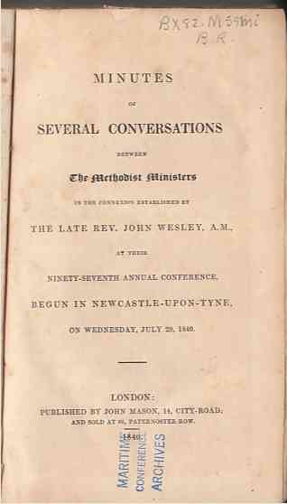 Image for Minutes of several conversations between the Rev. John Wesley  And the preachers in connection with him. Containing, the form of discipline ... and people in the Methodist societies