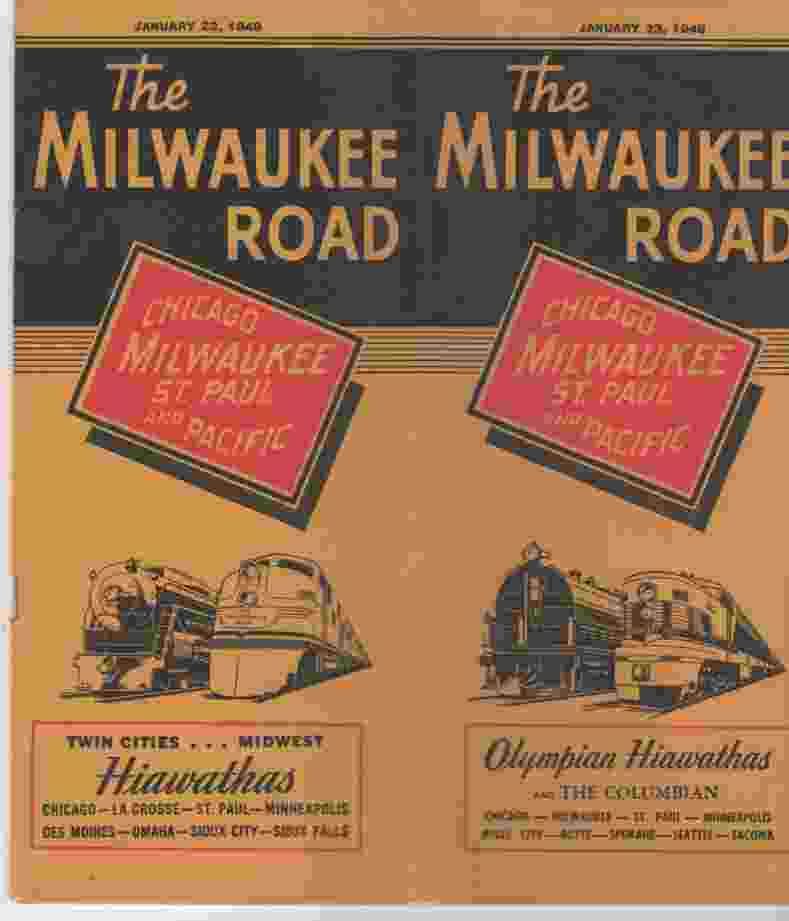 Image for The Milwaukee Road timetable for Olympian/Hiawathas