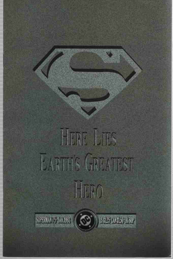 Image for Superman Memorial Set, #75 with foldout splash back cover, Full-Color Memorial Poster, Full color Commemorative stamps, Daily Planet Obit, Black mourning armband, Exclusive skybox trading card