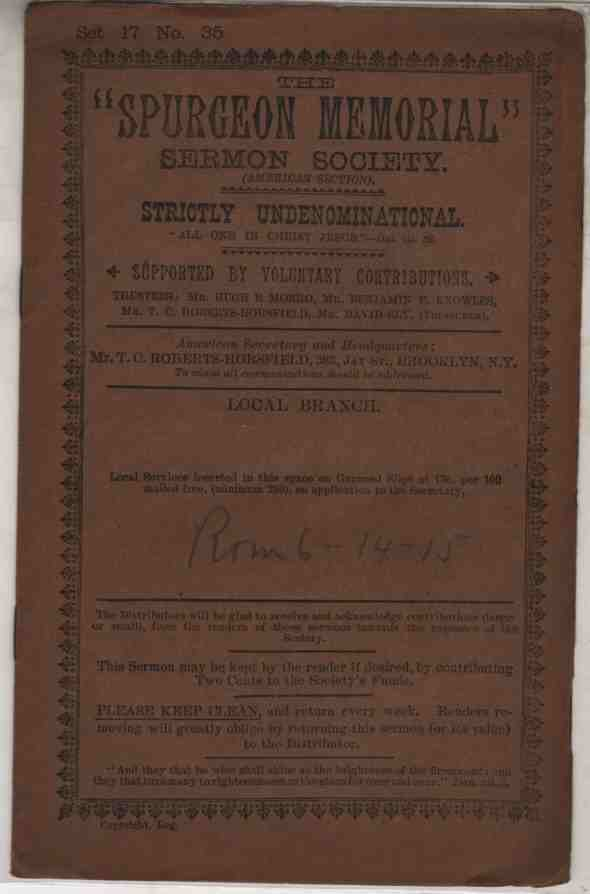 Image for The Doctrines Of Grace Do Not Lead To Sin A Sermon Delivered On August 19, 1883