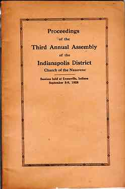 Image for Official Proceeding Third Annual Assembly Pentecostal Church of the Nazarene Indiana District 1928