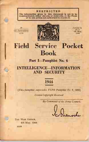Image for Field Service Pocket Book, Part 1- Pamphlet No 6, Intelligence Information and Security
