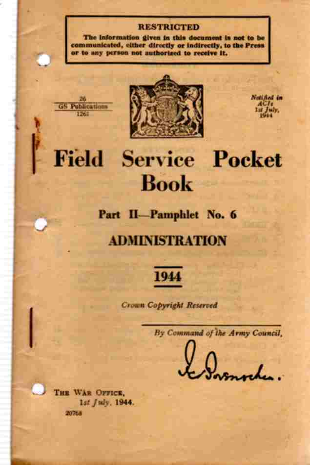 Image for Field Service Pocket Book, Part 2- Pamphlet No 6, Administration