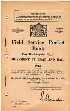 Image for Field Service Pocket Book, Part 2- Pamphlet No 5, Movement by Road and Rail