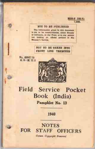 Image for Field Service Pocket Book,  Pamphlet No 13, Notes for Staff Officers (India)