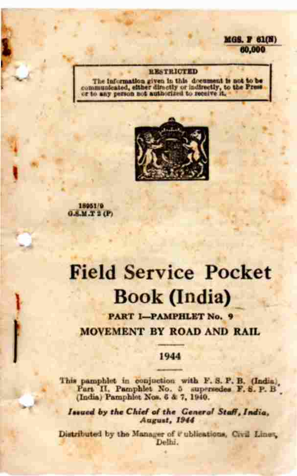 Image for Field Service Pocket Book,  Pamphlet No 9, Movement by road and rail (India)