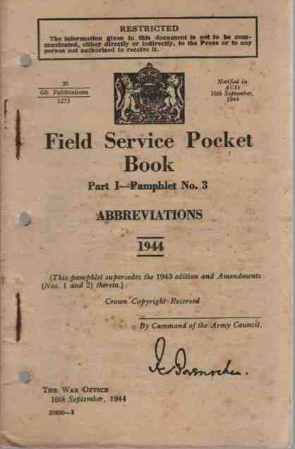 Image for Field Service Pocket Book, Part 1, Pamphlet No 3, Abbreviations