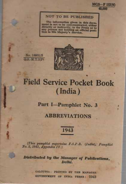 Image for Field Service Pocket Book, Part 1, Pamphlet No 3, Abbreviations (India)