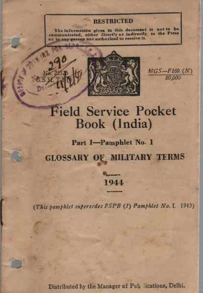 Image for Field Service Pocket Book, Part 1, Pamphlet No 1, Glossary of Military Terms (India)