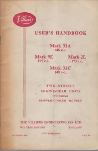 Image for Villers User's Handbook, Mark 31A 246 c.c., Mark 9E 197 c.c., Mark 2L 173 c.c., Mark 31 C 148c.c. Two Stroke Engine-Gear Units including blower cooled models