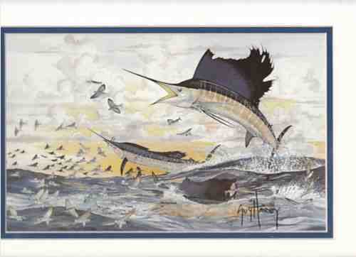 Image for Sail Fish (Two jumping after flying fish school) (Artist Signed Print)