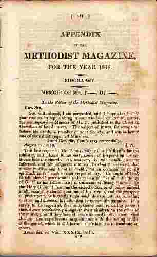Image for An Appendix to the The Methodist Magazine for 1816