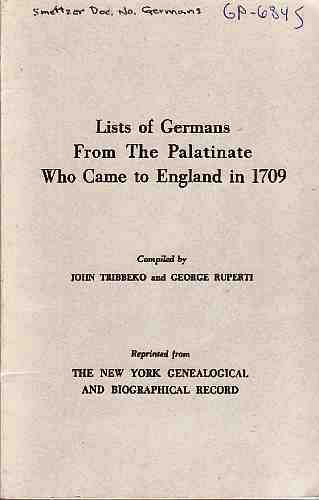 Image for Lists of Germans from the Palatinate Who Came to England in 1709