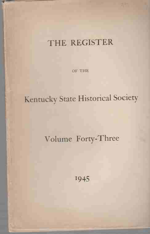 Image for The Register of the Kentucky Historical Society, Index 1945