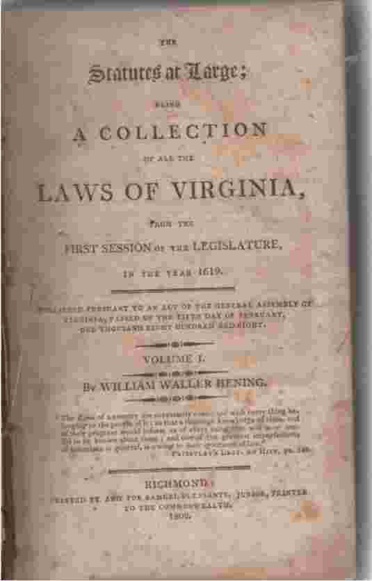 Image for The Statutes At Large; Being a Collection of all the Laws of Virginia from the First Session of the Legislature in 1619. Vol 1,