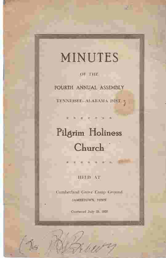 Image for Minutes of the Fourth Annual Assembly, Tennessee-Alabama Dist.,  Pilgrim Holiness Church