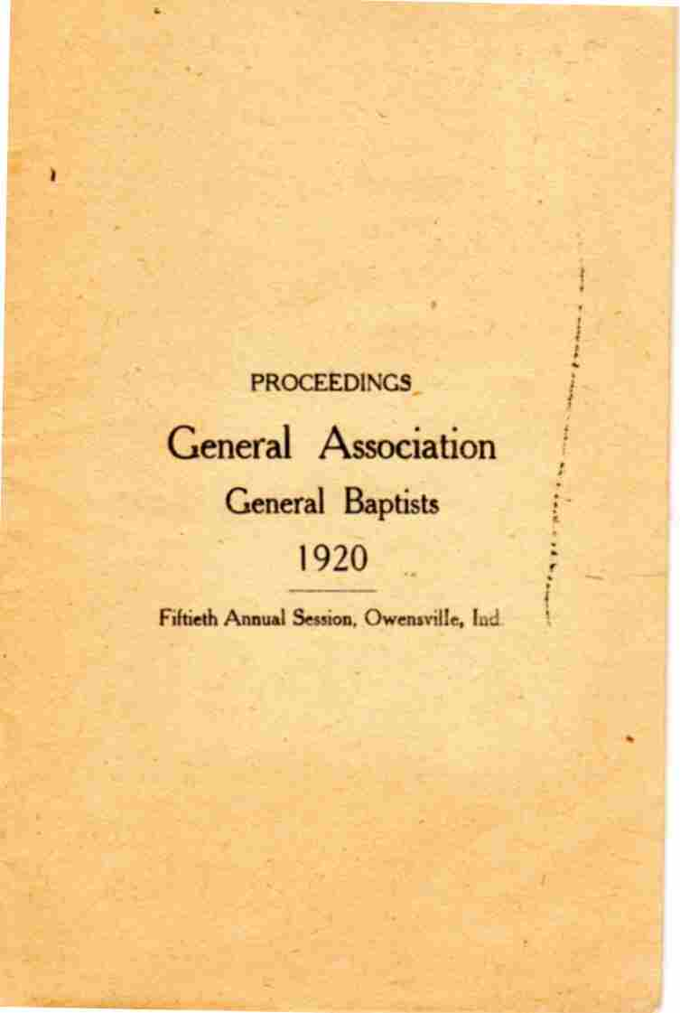 Image for Proceedings General Association General Baptists  1920 Fiftieth Annual Session, Owensville, Indiana