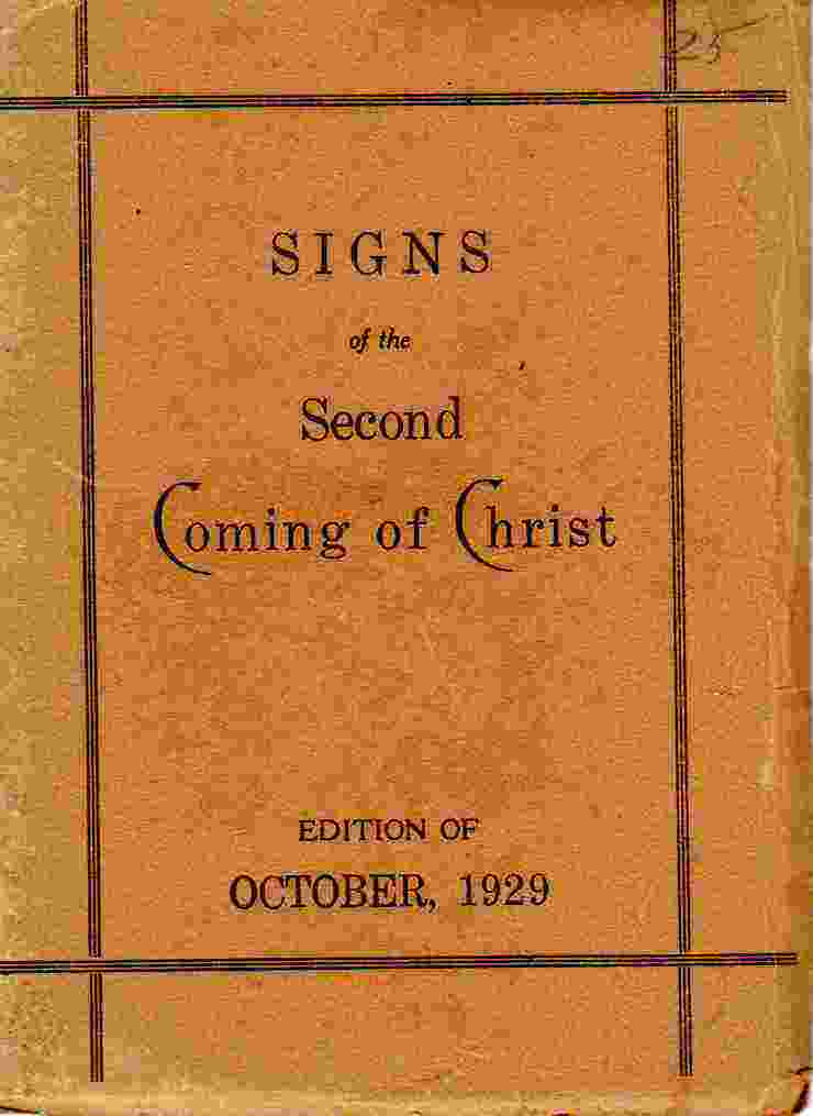 Image for Signs of the Second Coming of Christ Edition of October 1929