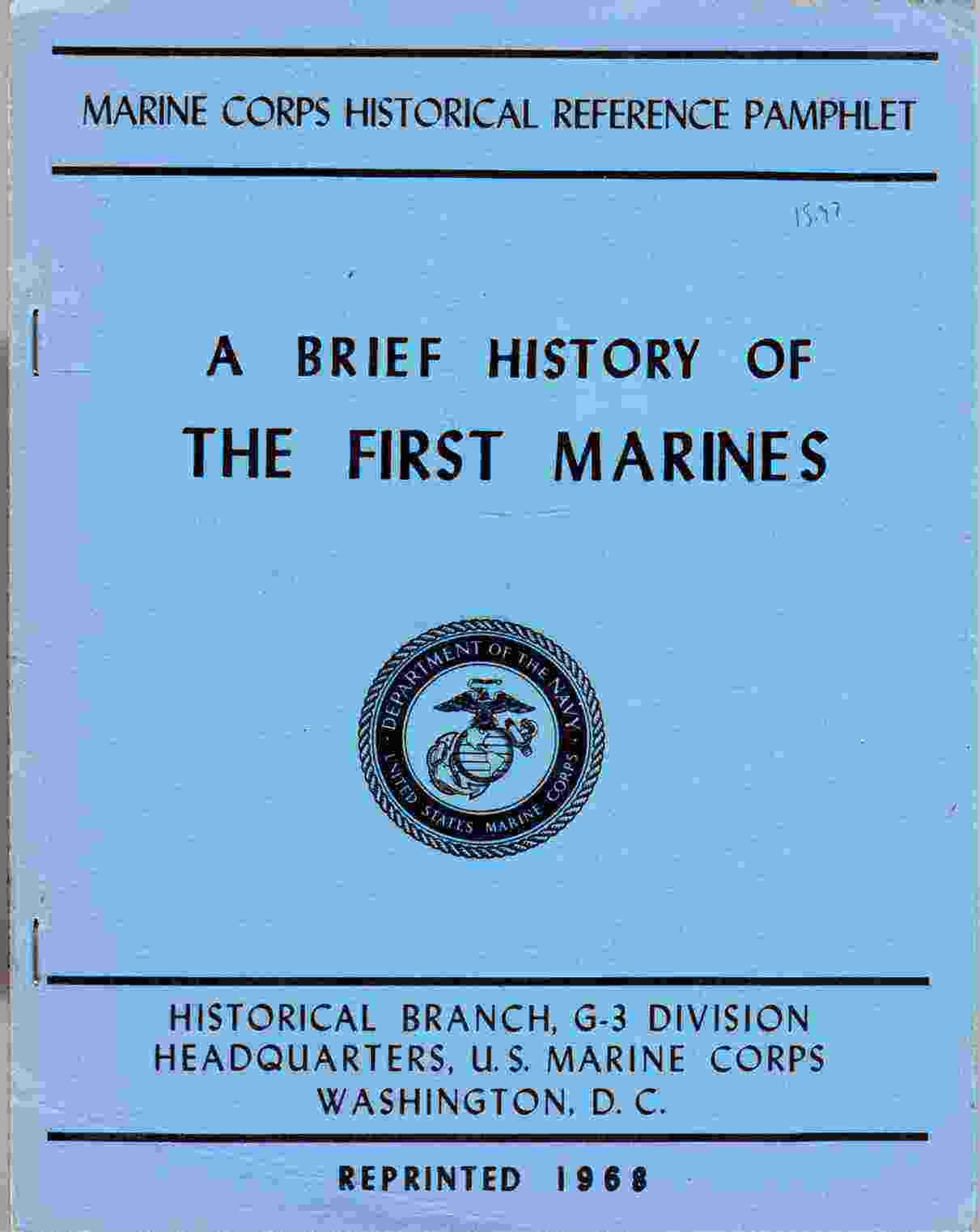 Image for Brief History of the First Marines.