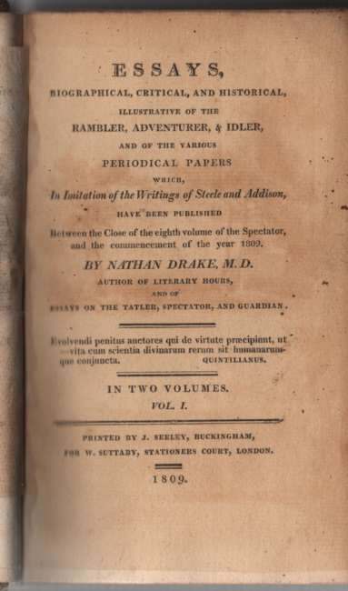Image for Essays, Biographical, Critical, and Historical, Illustrative of the Rambler, Adventurer, & Idler ... 2 Volume Set