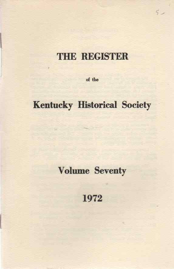Image for Index,The Register of the Kentucky Historical Society, Vol 70, 1972 Indexes