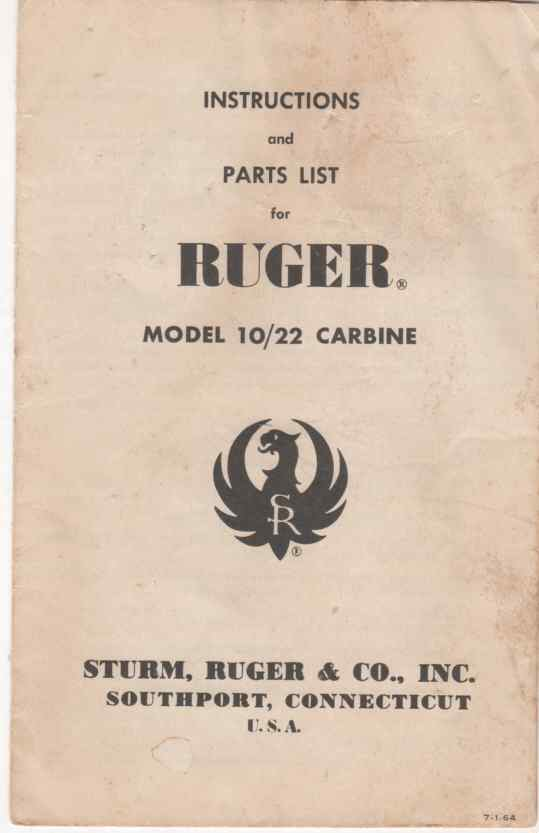 Image for Instructions and parts List for Ruger model 10/22 carbine