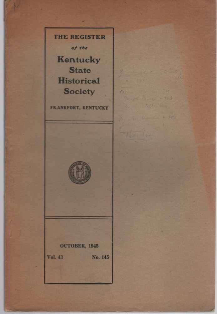 Image for The Register of the Kentucky Historical Society Vol.43 No. 145 October 1945